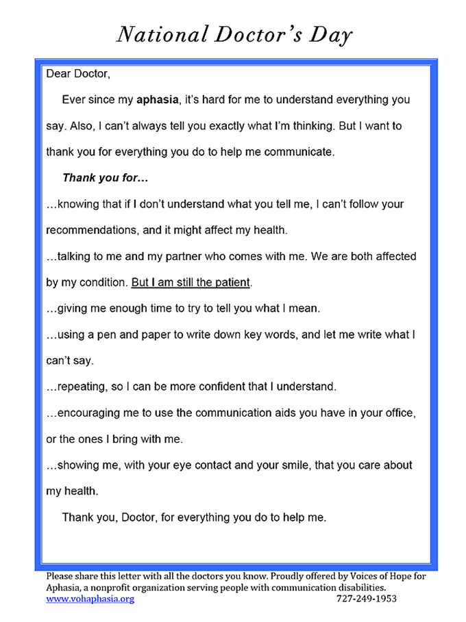 Thank You, Doctor, from Your Patient with Aphasia Voices of Hope - thank you letter to doctor
