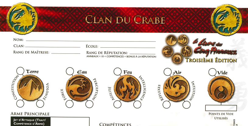 Fiches de personnage officielles couleur, 1 par clan – 3ème édition