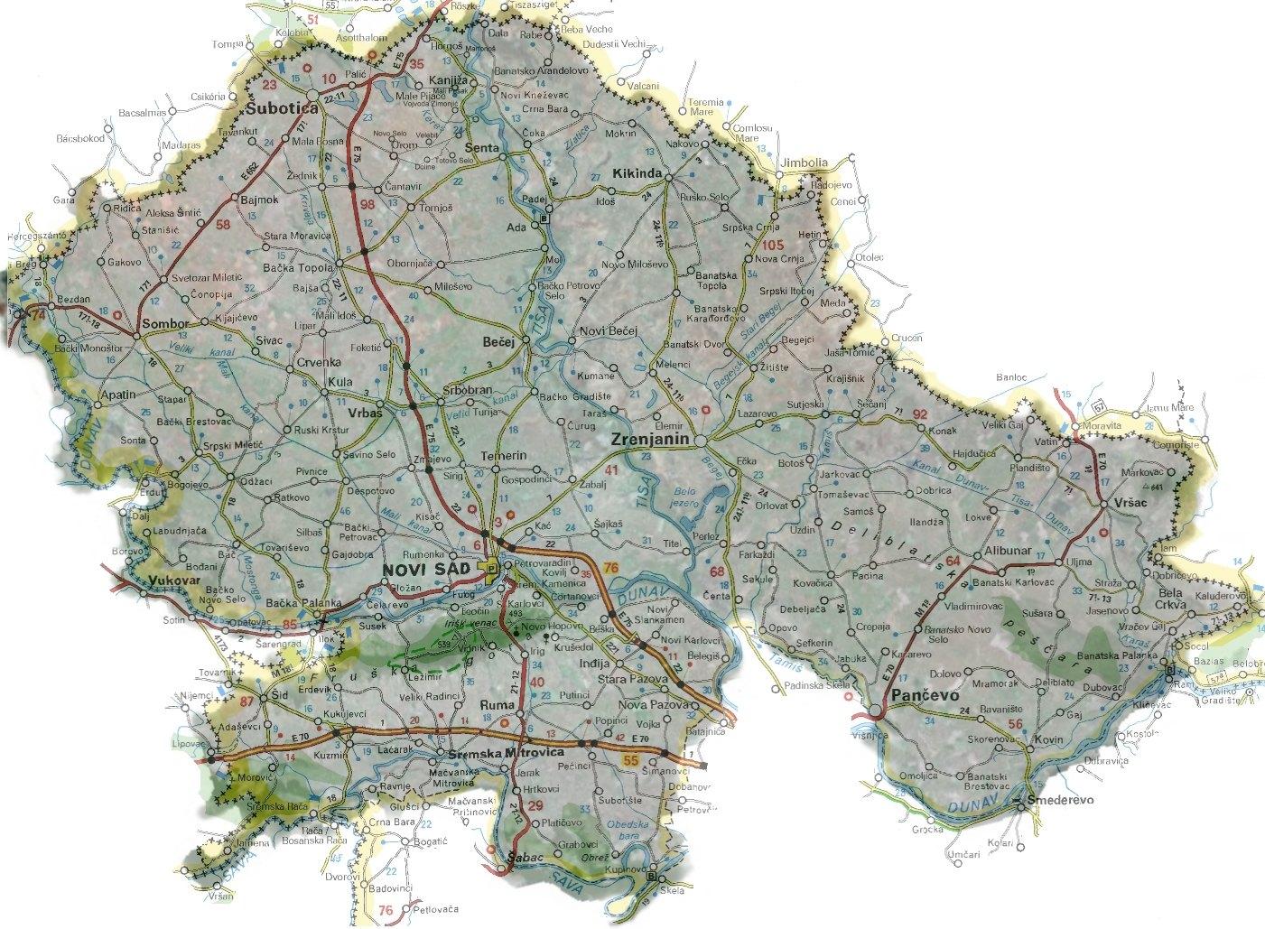 Auto Mapa Vojvodine Mapa Vojvodine Auto Karta