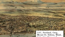 1890 engraving of Mount St Helens: Clohessy and Strengele