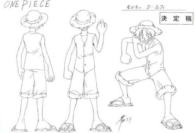 Monkey D Luffy sheet, Official reference, Settei Luffy Official - sign in sheet