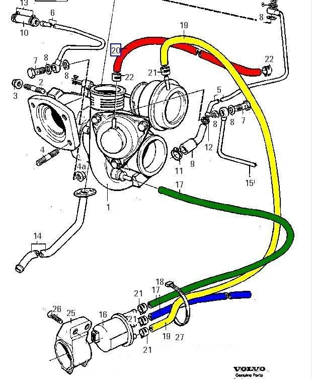 Volvo 850 Turbo - TCV / Vacuum hoses diagram