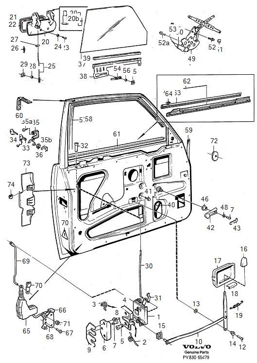 volvo v70 door parts diagram