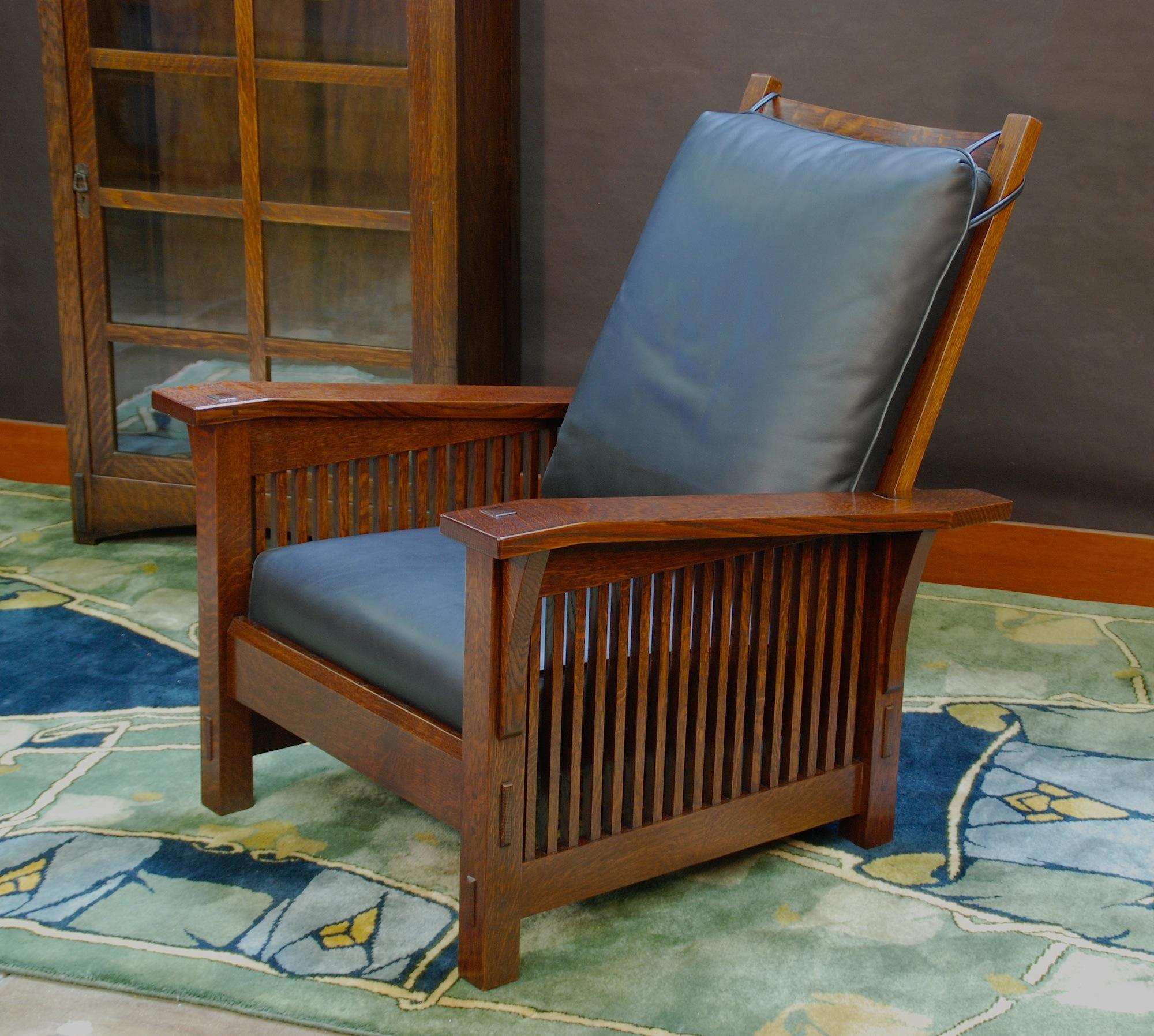 Medium size version gustav stickley replica slant arm spindle reclining morris chair