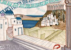 Decorontwerp 1-2-3 show: Griekenland (KRO, 17-10-1985), decor Roland de Groot. Collectie Roland de Groot