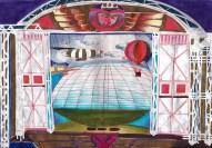 Decorontwerp 1-2-3 show: Begin van de luchtvaart (KRO, 15-1-1984), decor Roland de Groot. Collectie Roland de Groot