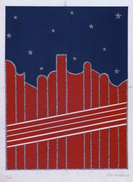 Decorontwerp Sterrenshow (VARA 1984-1986), decor: Hub Berkers. Collectie Hub Berkers / NIBG