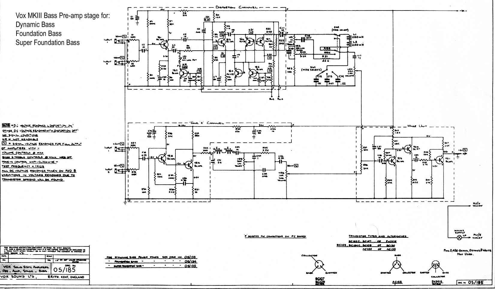 bass guitar amp schematics