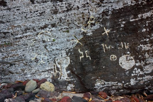 Petroglyphs at Down Rope. A hike down a REALLY REALLY steep cliff to the beach where ancient petroglyphs are calved into the rock face.