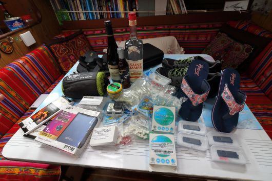 The huge and amazing pile of stuff that Charline brought for us from the UK