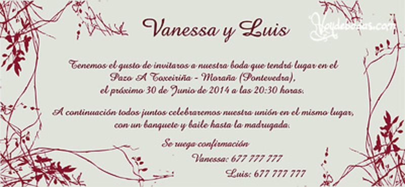 Invitación de boda Ref22707 Impresión GRATIS - Invitaciones de boda - invitaciones de boda gratis