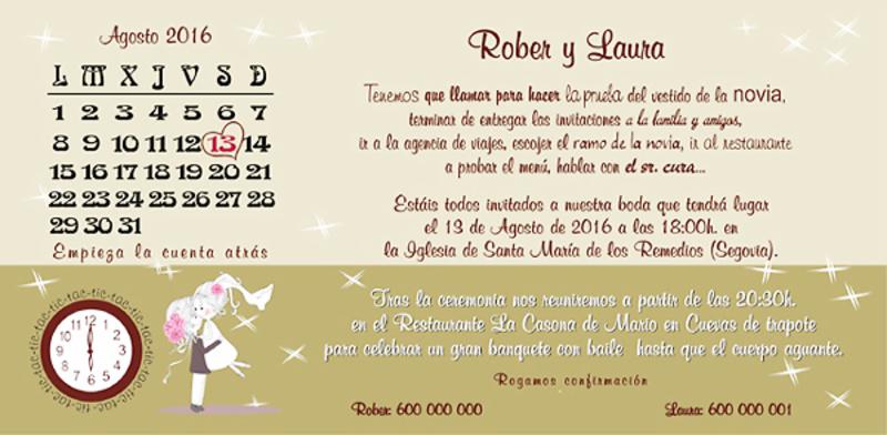 Invitación de boda calendario ref22720 Impresión GRATIS - invitaciones de boda gratis