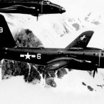 A three-plane formation of VP-4 P2V-2's in-flight over Alaska, 18 October 1948.
