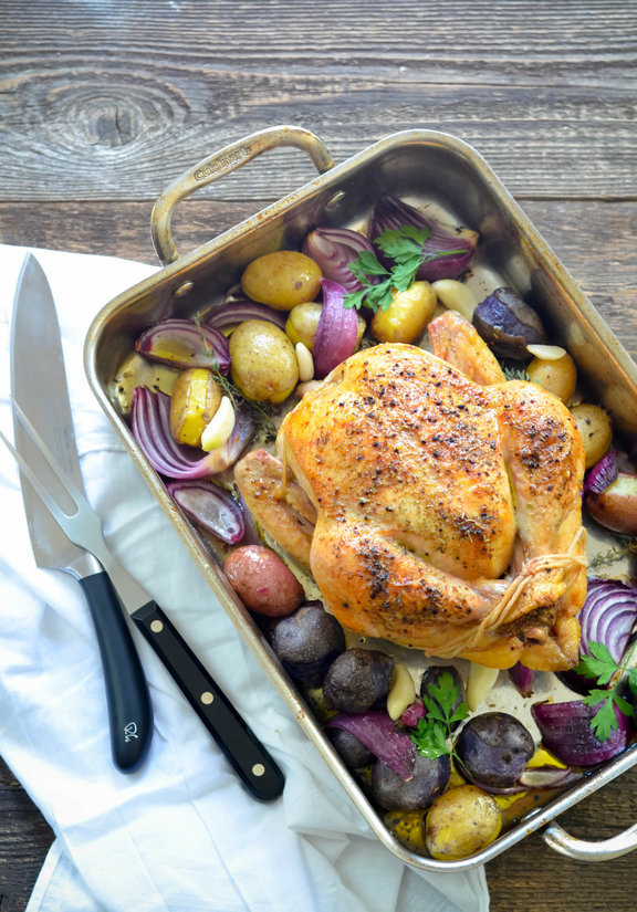 Roasted Chicken with Brandy Butter