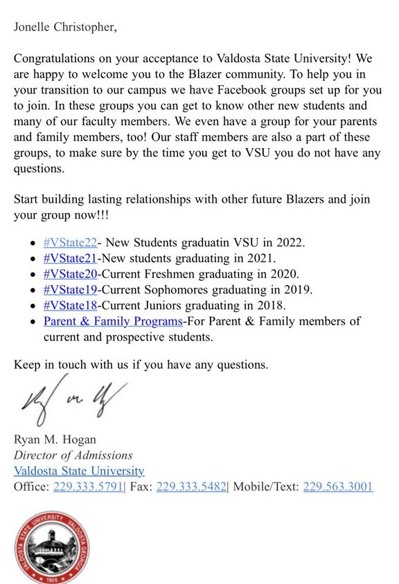 Valdosta State University sends out accidental acceptance letters - college acceptance letters