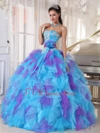 Aqua And Purple Puffy Quinceanera Dress With Detachable Belt