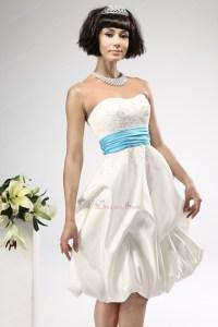 Cute Short Summer Wedding Dress With Teal Sash For Beach