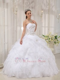 Sweetheart Puffy Cascade Skirt White Discount Quinceanera ...