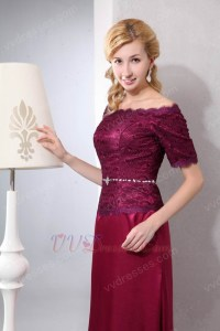 Short Sleeves Cardinal Red Mother Of The Bride Dress