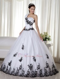 One Shoulder White Quinceanera Dress With Black Leaves ...