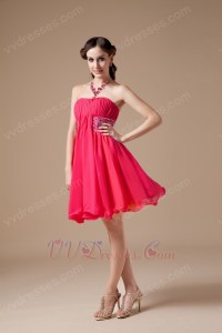 Best Deals 2012 Hot Pink Short Prom Dress With Beading