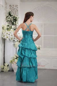 Halter Floor Length Teal Taffeta Sweet 16 Dress