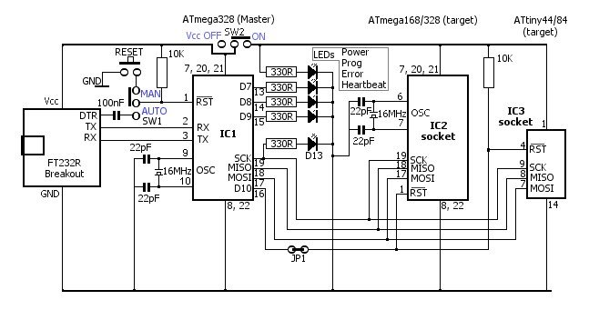 the schematic diagram of usb avr insystemprogrammer