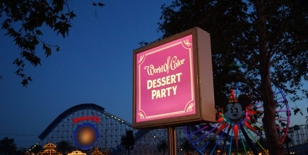 World of Color Dessert Party sign