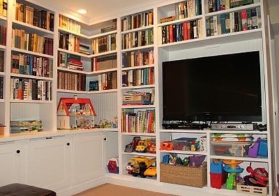 Creative Bookshelf Design For Tv Stand