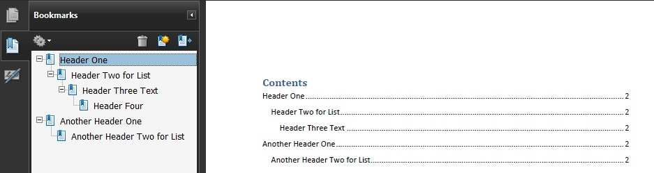 PDF2 Creating bookmarks in PDF documents Techniques for WCAG 20 - example of word