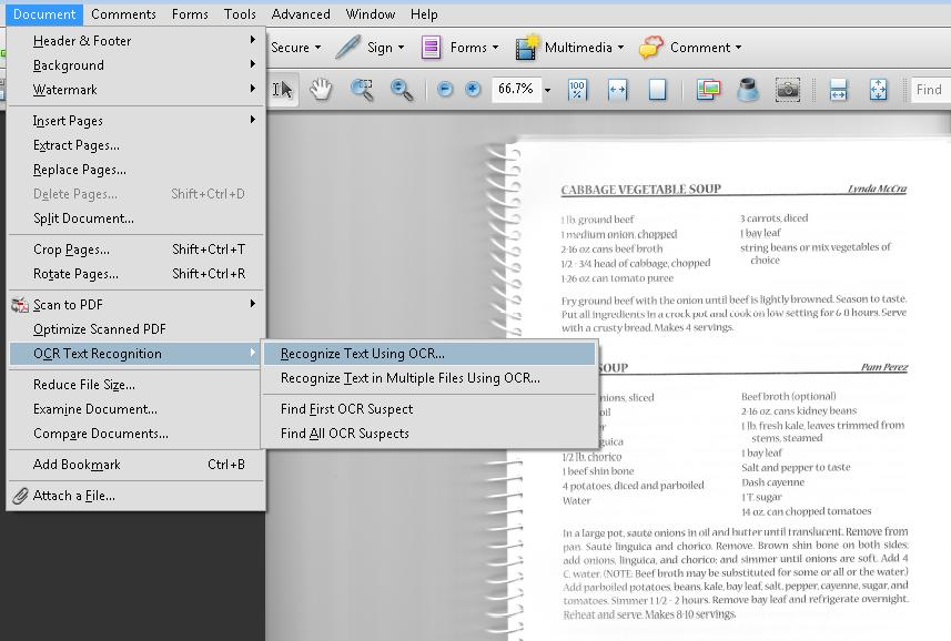 PDF7 Performing OCR on a scanned PDF document to provide actual