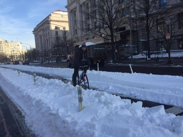 The Pennsylvania Ave cycletrack this morning.