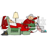Clipart Illustration of Mrs Claus Vacuuming The Living ...
