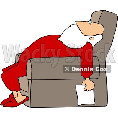 Tired Santa Holding a Blank Paper List Clipart © djart #5166 - santa list blank