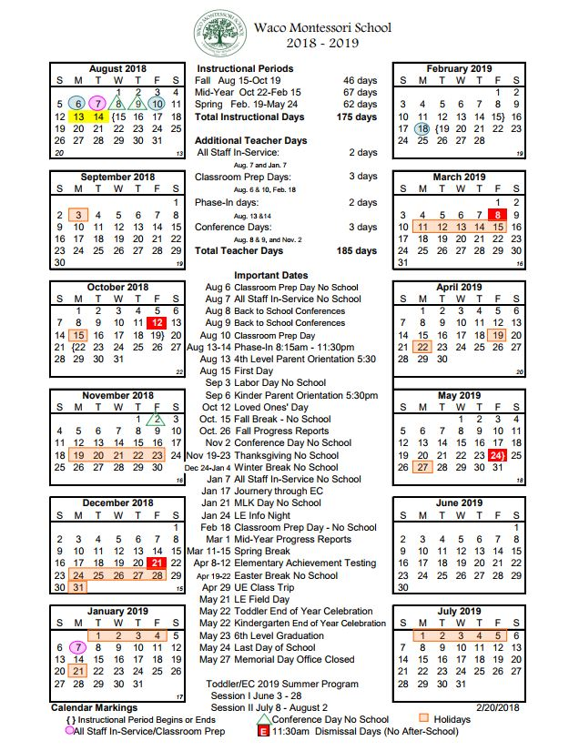 School Calendar - Waco Montessori School