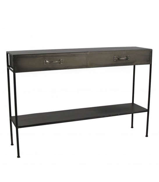 Console Table 2 Drawers Metal Grey Industrial Style