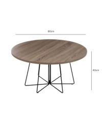 Round Design Coffee Table Wood and Black Metal
