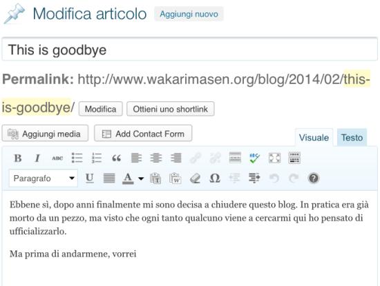 Goodbye?