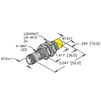 NI8U-EM12E-AP6X-H1141 -Turck 12mm Barrel Sensor, Nonembeddable