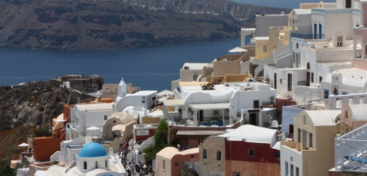 The view from the restaurant in Oia, Santorini Greece 2015