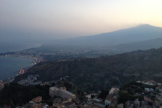 View of Mt Etna from Taormina, Sicily