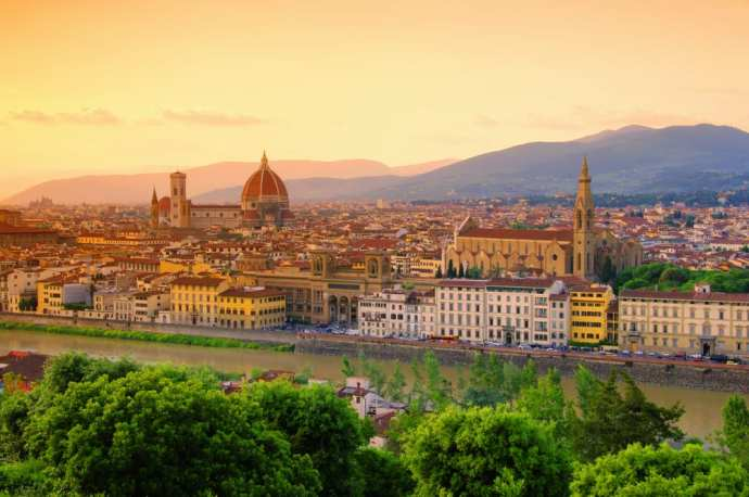 Florence, the city in which modern italian is believed to have originated from (View from Piazzale Michelangelo)