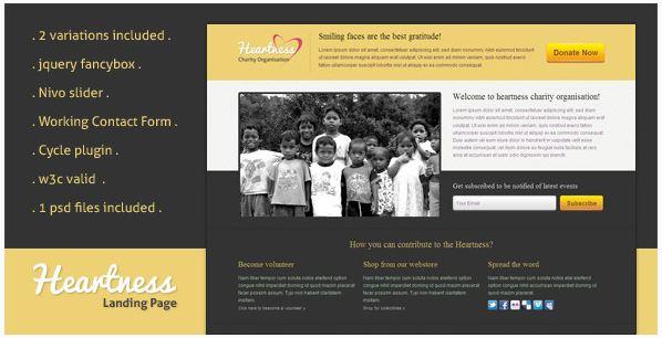 Heartness landing page template
