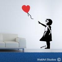 Heart Balloon Girl - Wallart Studios