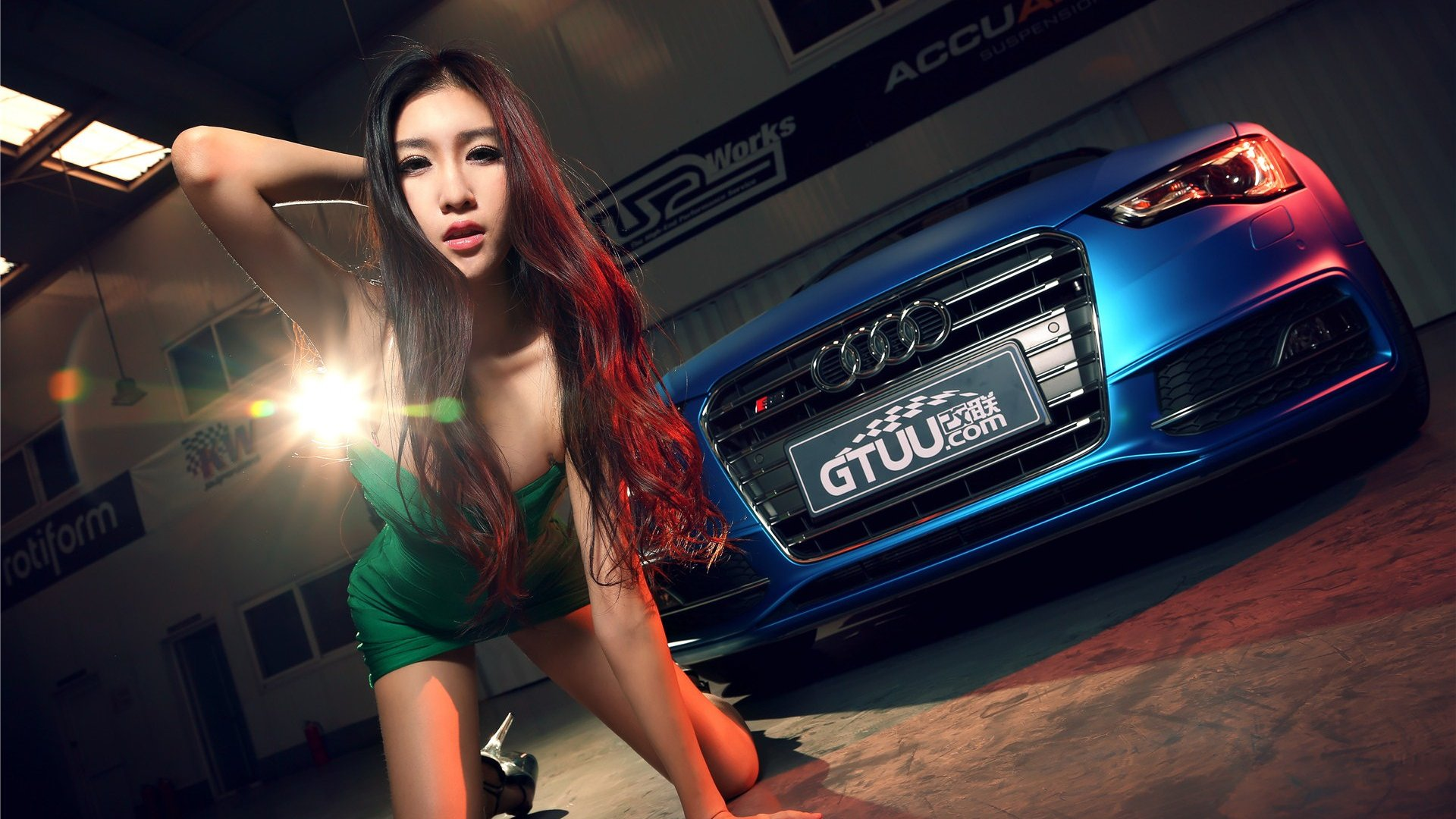 Chinese Girl Painting Wallpaper Asian Girl Bule Showgirl Sexy Model Car Audi