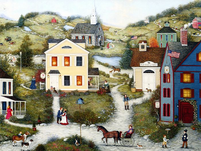 Fall Schoolhouse Wallpaper Old Dog Livery Americana Villages Americana Country Life