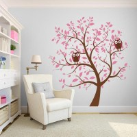 Pink Nursery Tree with Owls Wall Decal | Wall Decal World