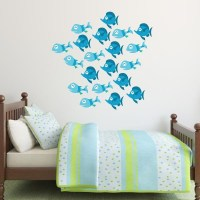 Blue Fish Wall Decals - Set of 20 | Wall Decal World