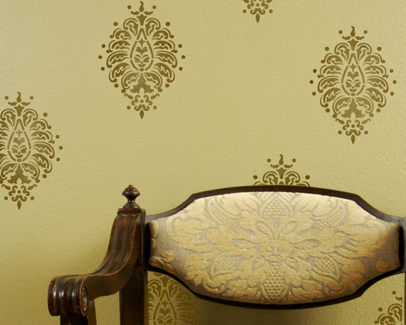3d Geometric Wallpaper For Walls Paisley Motif Stencil Wall Art Wall Decoration Pictures