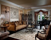 Traditional Living Room Design with Metal Wall Panels ...